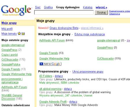 Grupy dyskusyjne Google 2