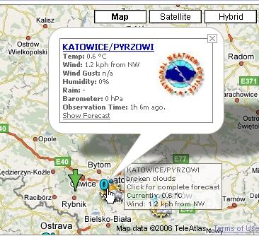 Pogoda na Google Maps real time